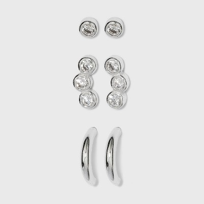 Sterling Silver Cubic Zirconia Stud and Hoop Earring Set 3pc - A New Day™ Silver