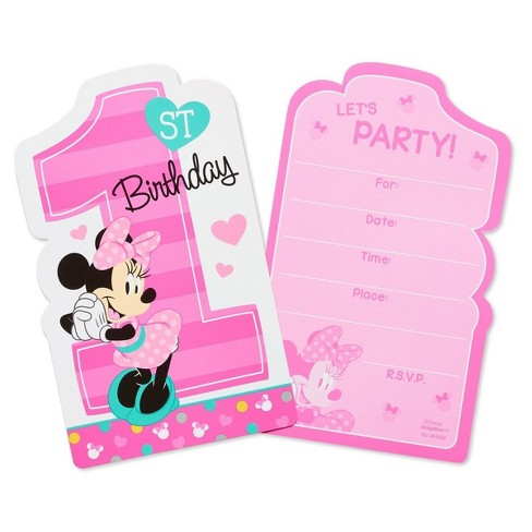 8ct Minnie Mouse 1st Birthday Invitations Target