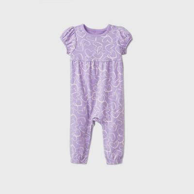 Baby Girls' Short Sleeve Empire Waist Romper - Cat & Jack™ Purple 0-3M