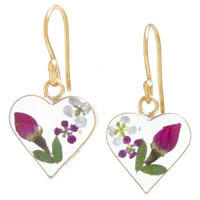 Women's Gold over Sterling Silver Pressed Flowers Small Heart Drop Earrings