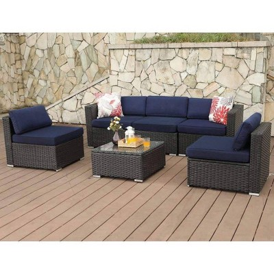 6pc Outdoor Rattan Wicker Sofa & 2 Chairs - Blue - Captiva Designs