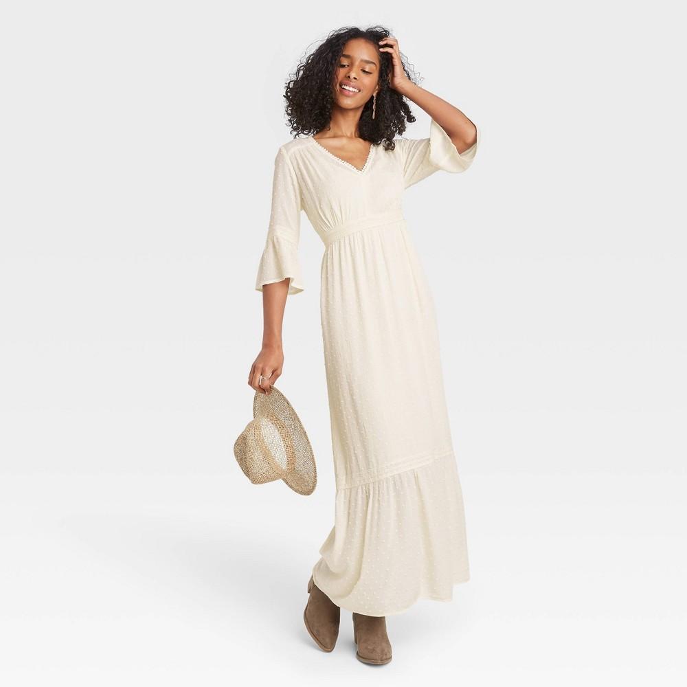 Women 39 S Polka Dot 3 4 Sleeve Clip Dot Dress Knox Rose 8482 Ivory Xs