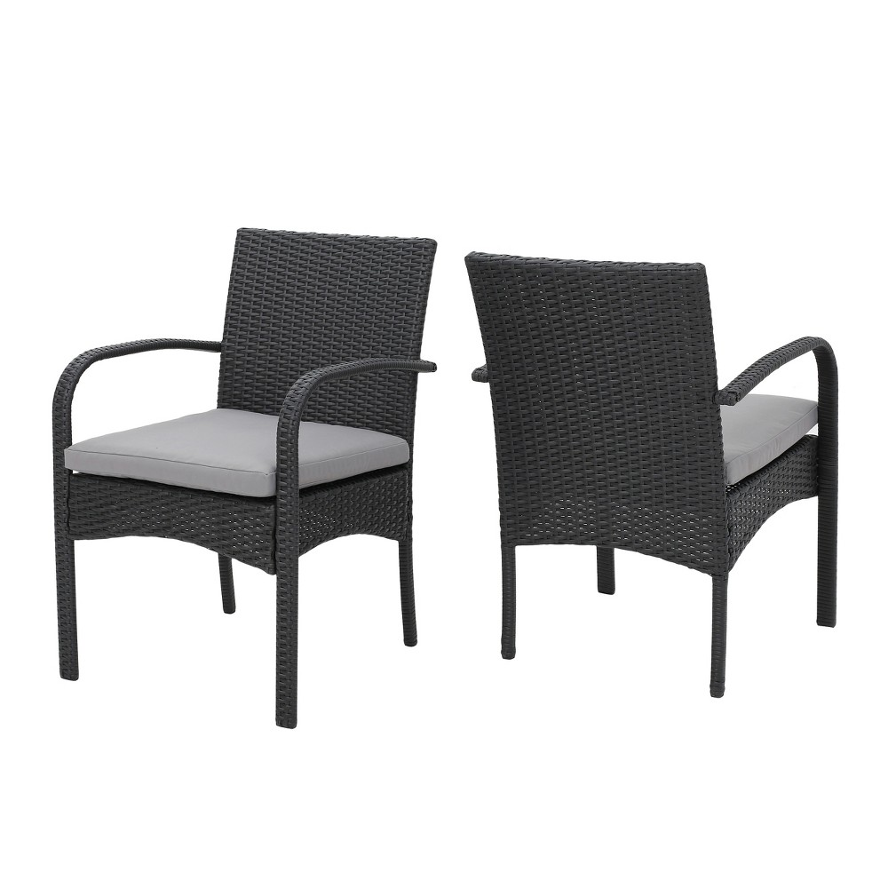 Cordoba 2pk Wicker Patio Dining Chair with Cushion - Gray - Christopher Knight Home