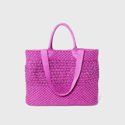 Circle Handle Crochet Tote Handbag - A New Day™