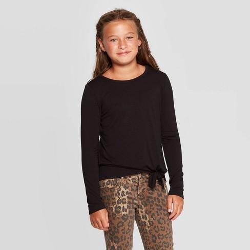 Girls' Long Sleeve Side Tie T-Shirt - art class™ - image 1 of 3