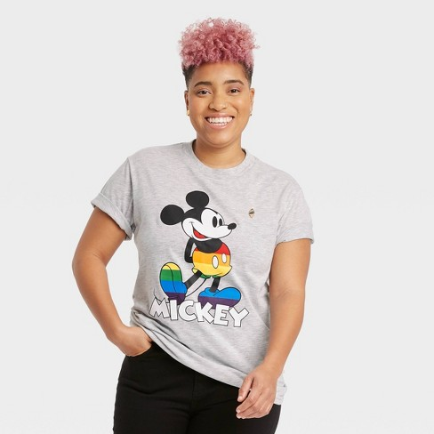 Pride Gender Inclusive Adult Mickey Mouse Short Sleeve Graphic T-Shirt - Gray - image 1 of 3
