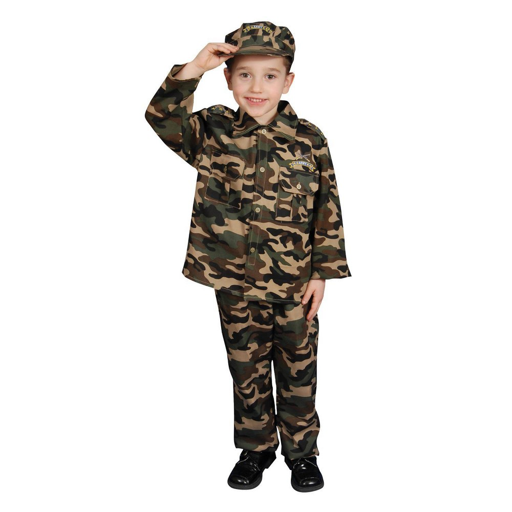 Image of Halloween Kids' Army Toddler Costume 3 to 4, Men's, Size: Small, MultiColored