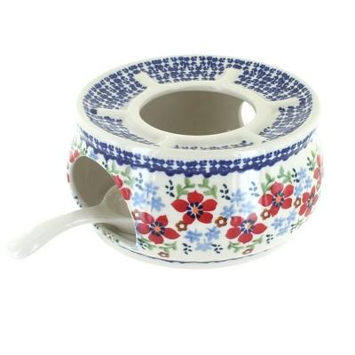 Blue Rose Polish Pottery Red Poppy Teapot Warmer