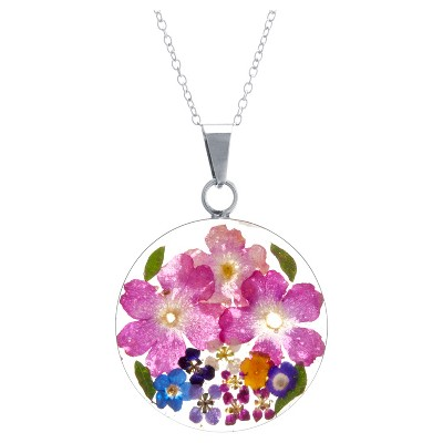 """Women's Sterling Silver Pressed Flowers Small Round Pendant (18"""")"""