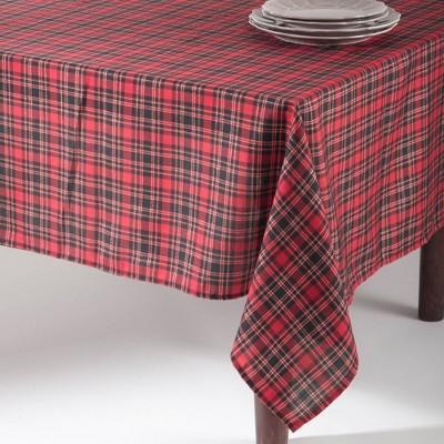 "65""x120"" Plaid Design Tablecloth Red - SARO Lifestyle"