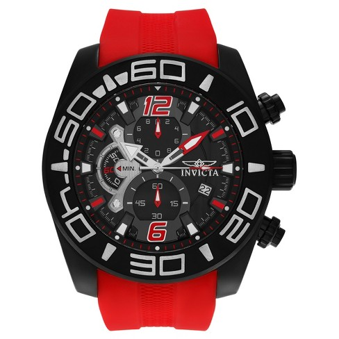 Men's Invicta 22810 Pro Diver Ion-Plated Chronograph Silicone Strap Watch - Red - image 1 of 3