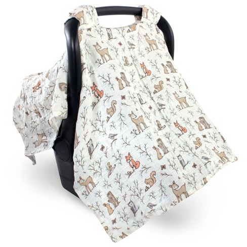 Hudson Baby Infant Girl Muslin Cotton Car Seat and Stroller Canopy, Enchanted Forest, One Size - image 1 of 2