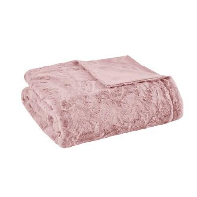 "60""x70"" Oversized Marselle Faux Fur Throw Blanket Blush"