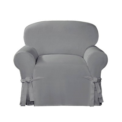 Cotton Canvas Relaxed Fit Slipcover Chair Gray - Sure Fit