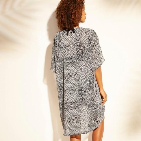 2cd9ab2fb3f2 Women's Tie Front Kimono Cover Up - Kona Sol™ Black Geo : Target