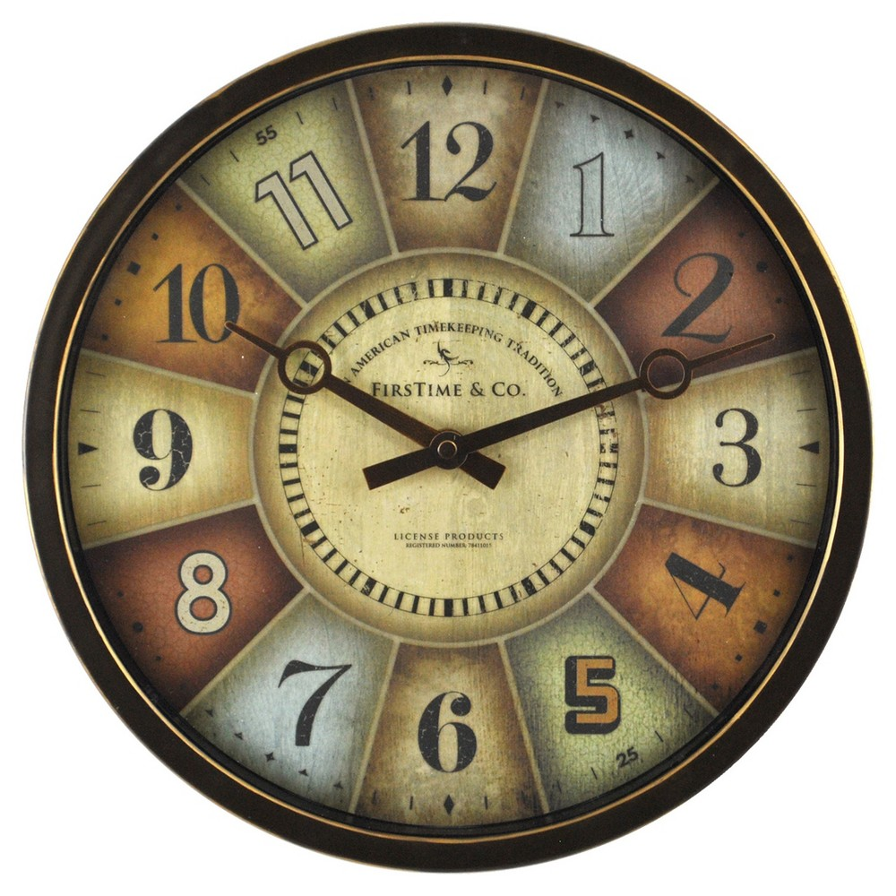 Image of Color Wheel 12 Round Wall Clock Rubbed Bronze - FirsTime
