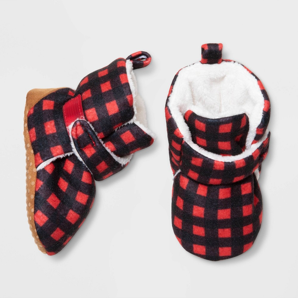 Image of Baby Buffalo Check Bootie Slipper - Cat & Jack Red 0-3M, Toddler Unisex