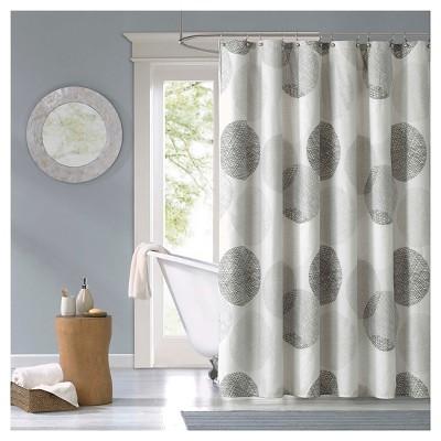 Cabrillo Geometric Print Microfiber Shower Curtain - Gray