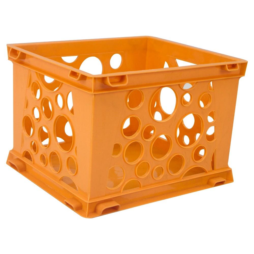 Storex Mini Stackable Storage Crate 3ct - Neon Orange