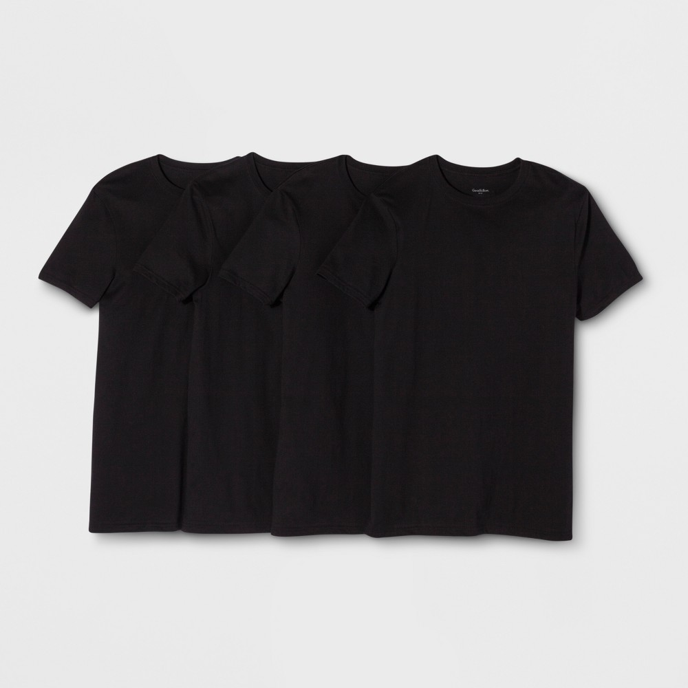 Men's Crew T-Shirt 4pk - Goodfellow & Co Black S