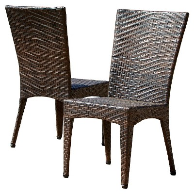 Brooke Set of 2 Wicker Patio Chairs - Multi Brown - Christopher Knight Home