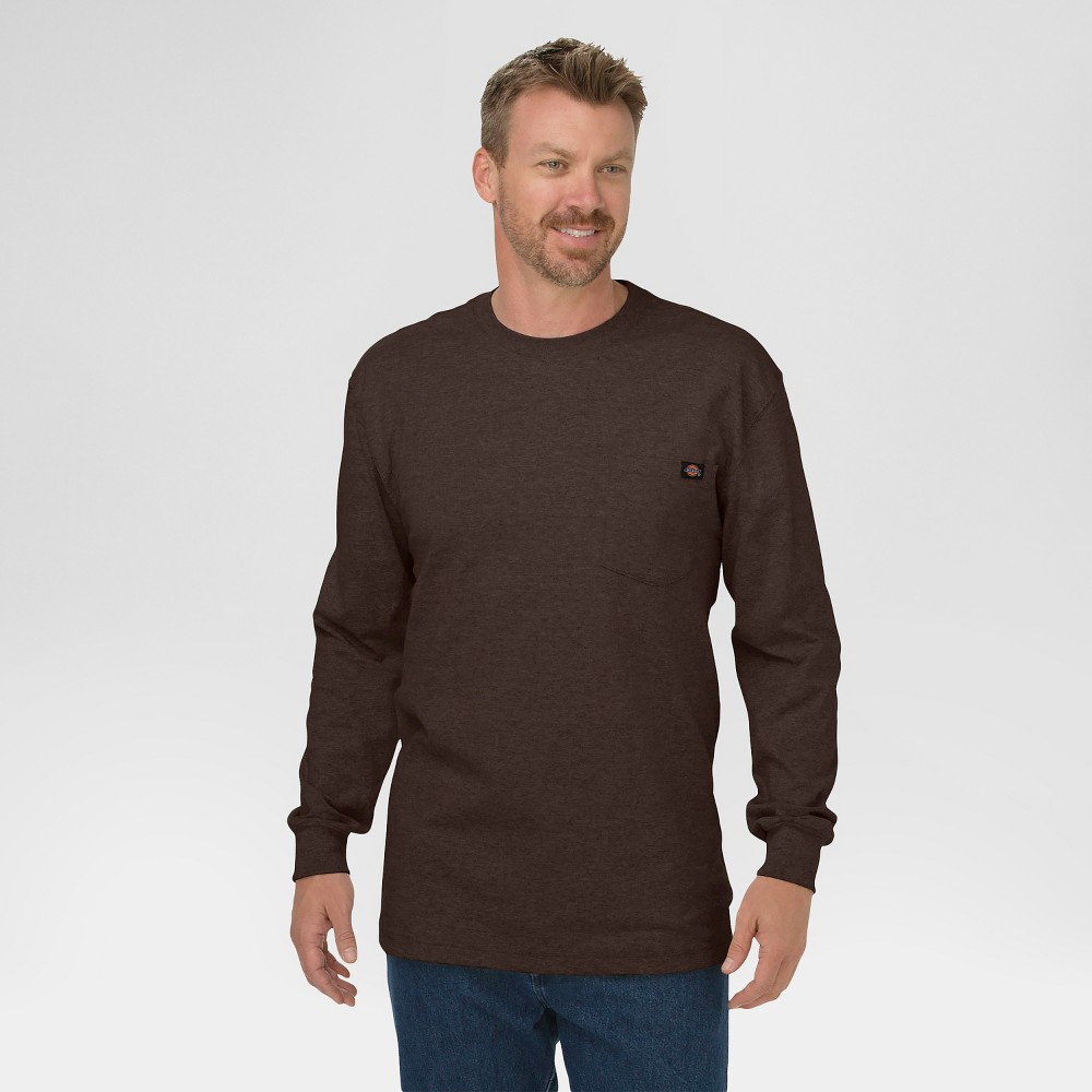 Dickies Men's Cotton Heavyweight Long Sleeve Pocket T-Shirt, Size: Medium, Chocolate Brown