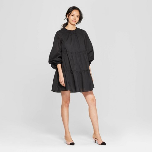 Women's Elbow Sleeve V-Neck Slim Fit Button-Down Flowy Tiered Mini Dress - image 1 of 3