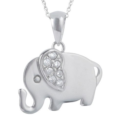 "7/10 CT. T.W. Round-cut CZ Pave Set Elephant Pendant Necklace in Sterling Silver - Silver (18"") - image 1 of 2"