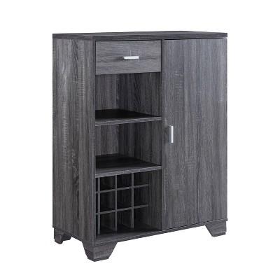 Ereth Modern Wine Bar Cabinet Dark Gray - miBasics