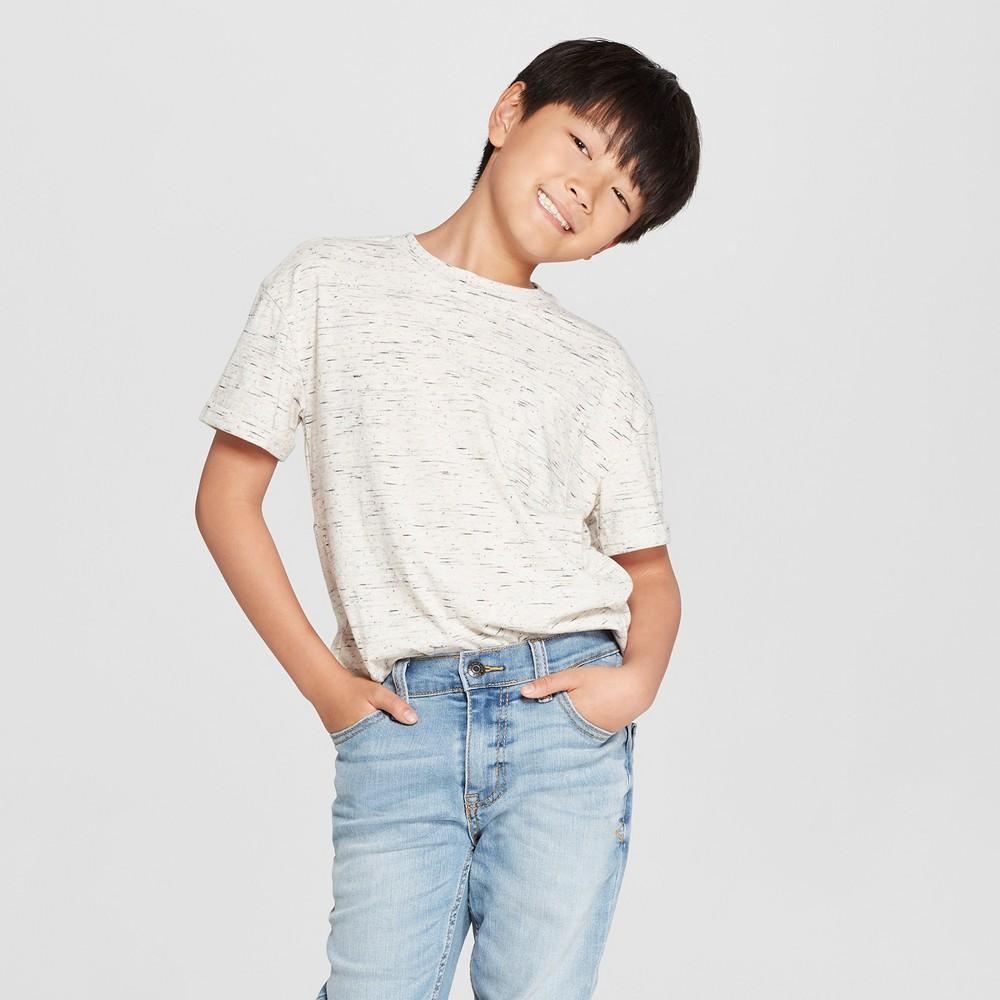 Boys' Short Sleeve Heathered T-Shirt - Cat & Jack Off-White (Beige) S