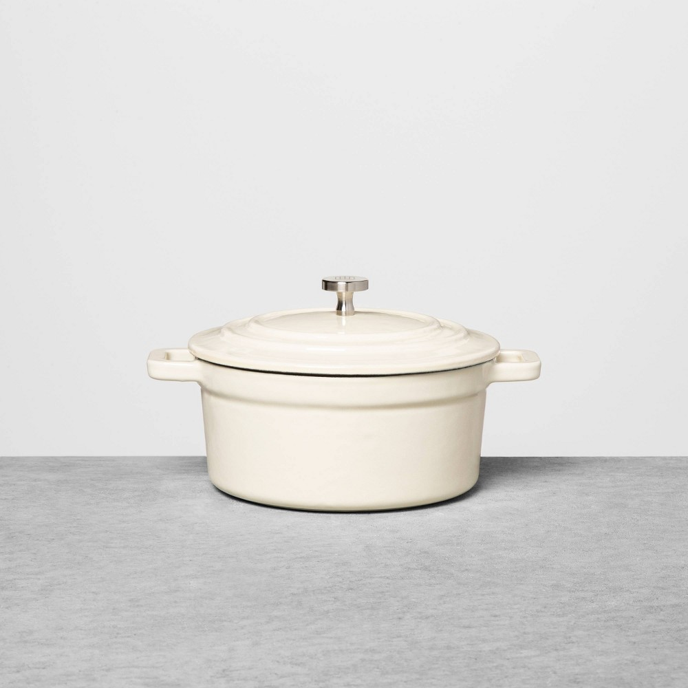 Image of .5qt Cast Iron Casserole Dish Cream - Hearth & Hand with Magnolia, Size: 0.5qt, White