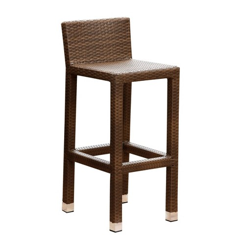Manchester Outdoor Brown Wicker Bar Stool Brown - Abbyson Living - image 1 of 4