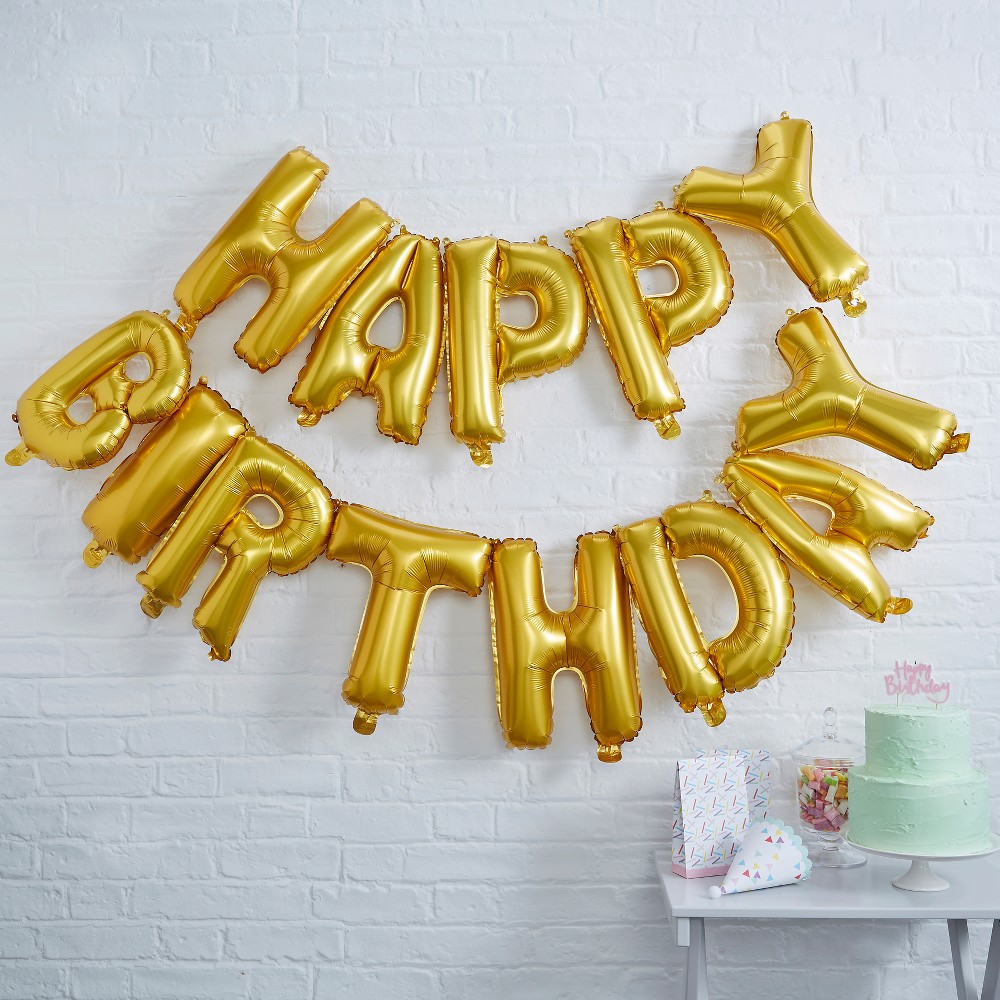 "Image of ""13ct """"Happy Birthday"""" Foil Balloon Bunting Rose Gold"""