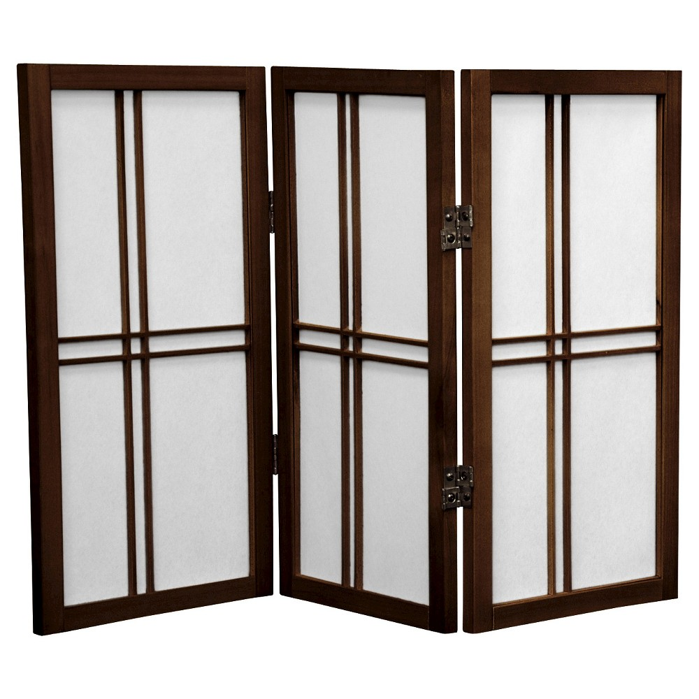 Image of 2 ft. Tall Desktop Double Cross Shoji Screen - Walnut (3 Panels) - Oriental Furniture, Brown