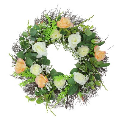 Northlight Rose And Foliage Artificial Spring Wreath 24 Inch Unlit Target