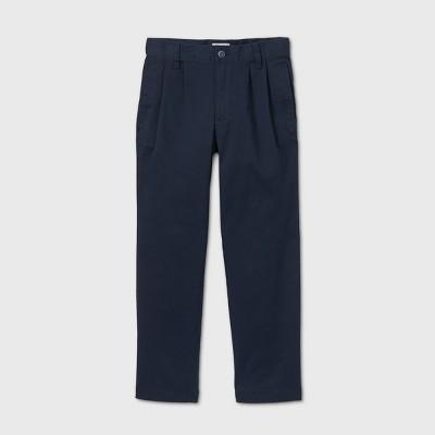 Boys' Stretch Uniform Pleated Chino Pants - Cat & Jack™ Navy