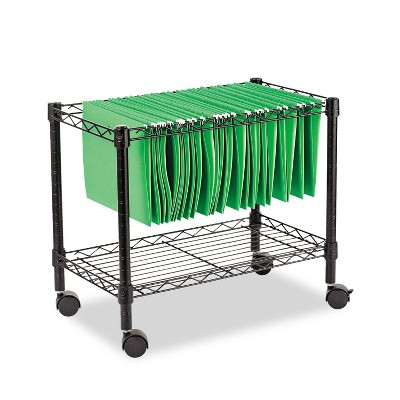 Alera Single-Tier Rolling File Cart, 24w x 14d x 21h, Black FW601424BL