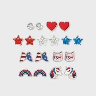 Girls' 9pk Americana Earring Set - Cat & Jack™