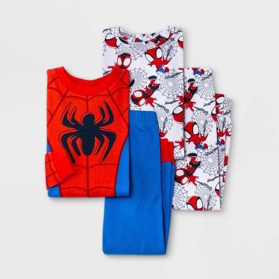 Toddler Boys' 4pc Marvel Spidy Snug Fit Pajama Set - Blue