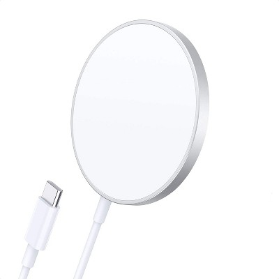Choetech Magnetic Wireless Charger Compatible with MagS Charger Fast Wireless Charging Pad for iPhone 1212 mini12 Pro12 Pro Max AirPods Pro 2 5ft Cable - T517F-Silver White