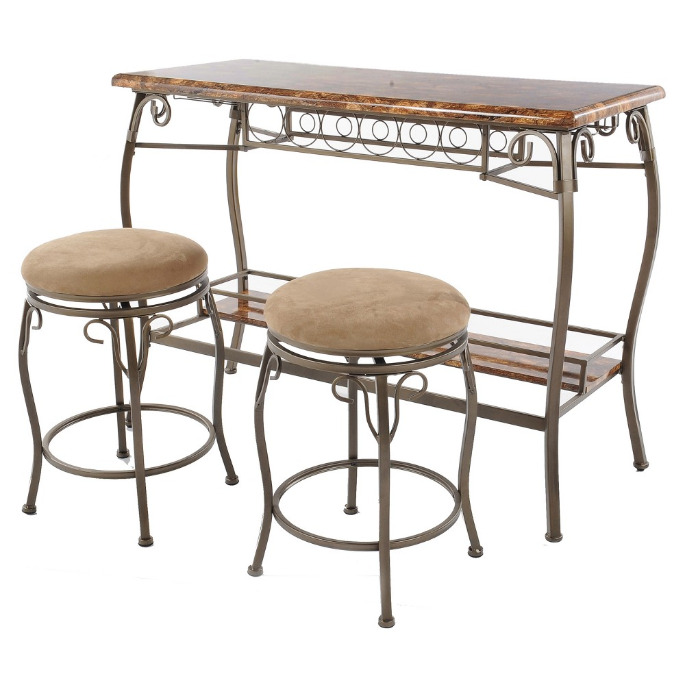 Image of 3pc Faux Marble Top Bar Table & 2 Stools - Brown - Home Source