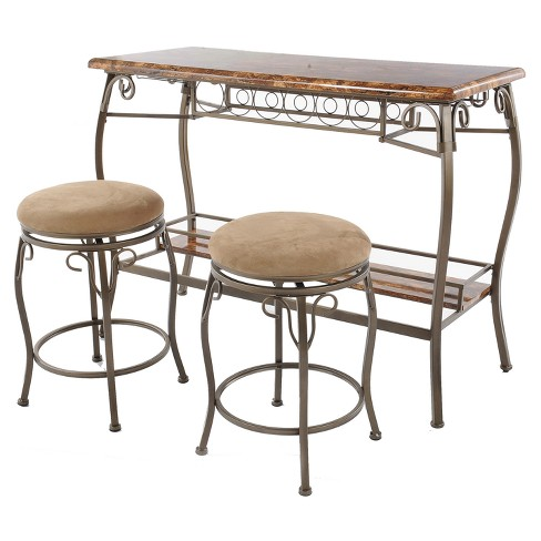 3pc Faux Marble Top Bar Table & 2 Stools - Brown - Home Source - image 1 of 3