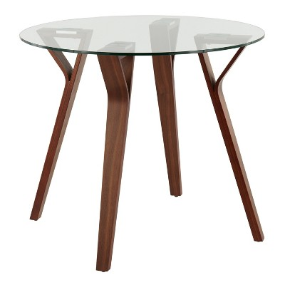 "35.5"" Folia Mid-Century Modern Modern Round Dining Tables Walnut/Clear - LumiSource"