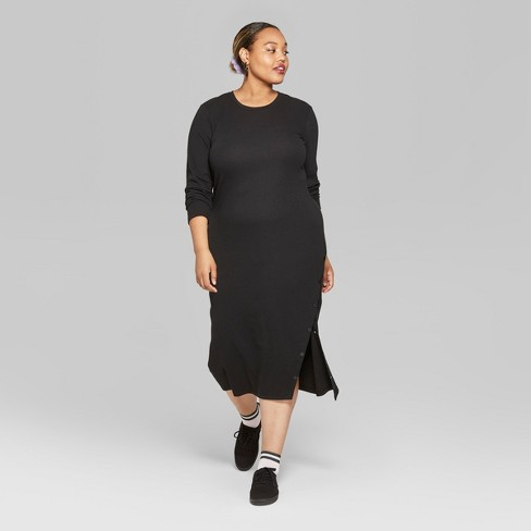 Womens Plus Size Long Sleeve Ribbed Knit Solid Midi Dress Wild