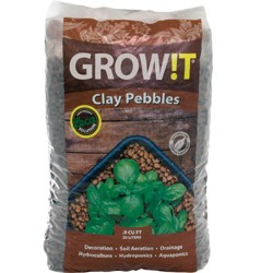 Hydrofarm GMC25L GROW!T Hydroponic 100% Natural Clay Pebbles, 25 Liter Bag