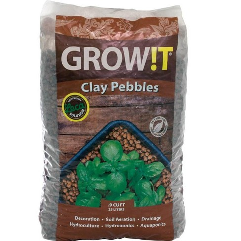 Hydrofarm GMC25L GROW!T Hydroponic 100% Natural Clay Pebbles, 25 Liter Bag - image 1 of 4
