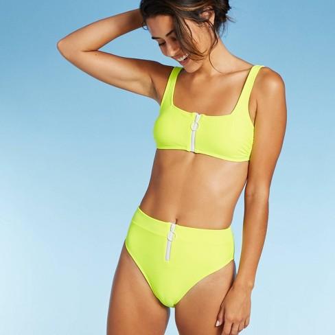 Women's Zip Front Bralette Bikini Top - Xhilaration™ Neon Yellow - image 1 of 4
