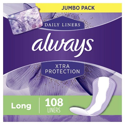 Always Xtra Protection Daily Liners Long - Unscented- 108ct
