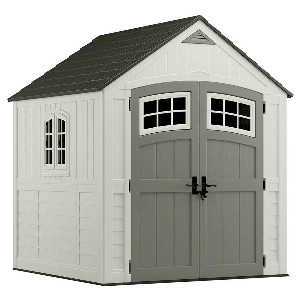 Cascade Storage Shed 7' X 7' - Vanilla/Stone Gray - Suncast, White Gray