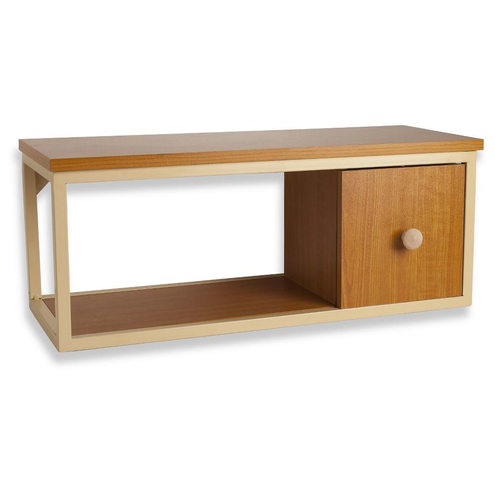 Danya B Floating Shelf with Metal Railing and Door - Coastal Cedar, Warm Cinnamon